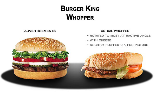 anuncio contra realidad Burger King