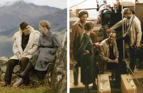 Dos momentos del rodaje de Sonata de otoño (1978)