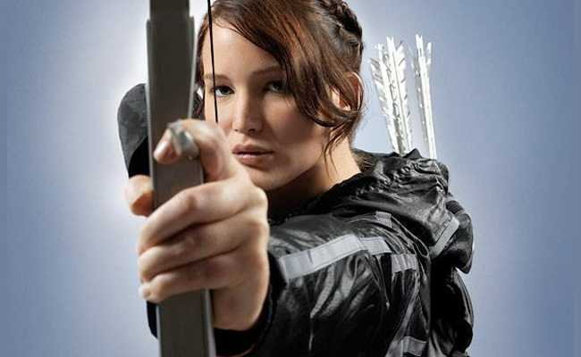 Jennifer Lawrence caracterizada como Katniss Everdeen.
