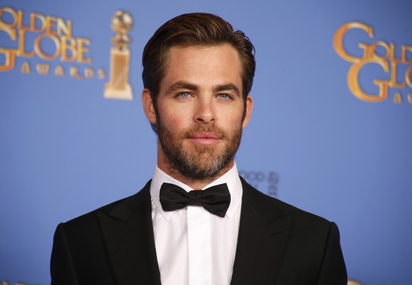 Presenter Chris Pine poses backstage at the 71st annual Golden Globe Awards in Beverly Hills