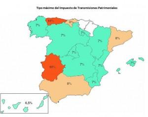 Impuesto de Transmisiones Patrimoniales por comunidad autonoma