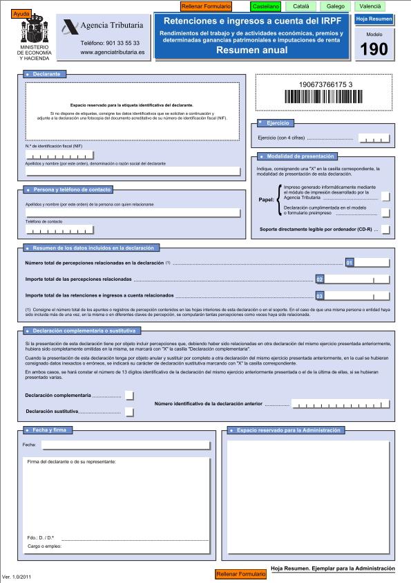 Modelo 190 de retenciones e ingresos anuales a cuenta de IRPF