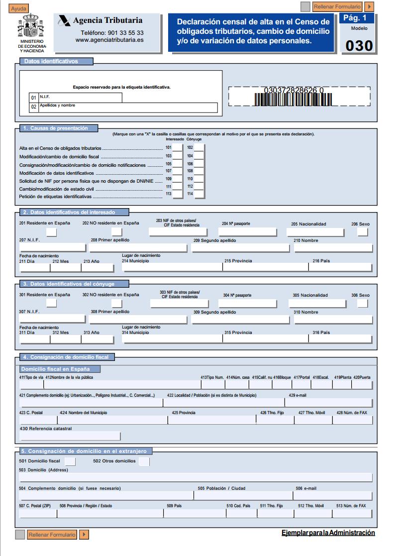 Modelo 030 de la AEAT para cambiar el domicilio fiscal