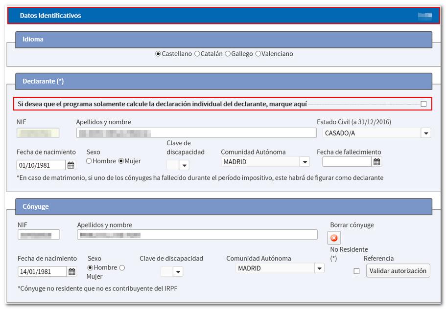 Datos identificativos - Generar borrador de la renta