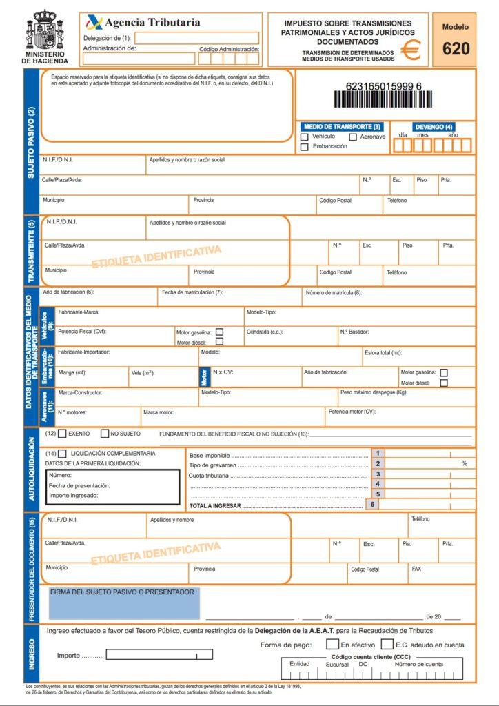 modelo 620 de impuesto de transmisiones sobre vehiculos