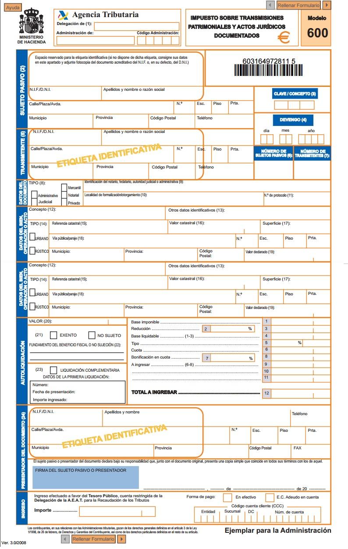 Modelo 600 Impuesto de Transmisiones Patrimoniales