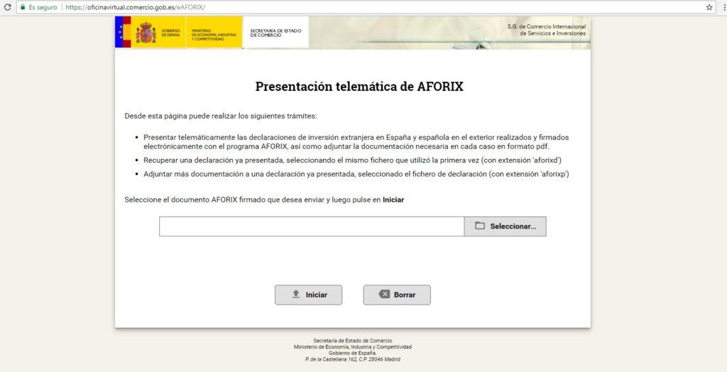 Presentación telemática del Modelo D6 a través de Aforix