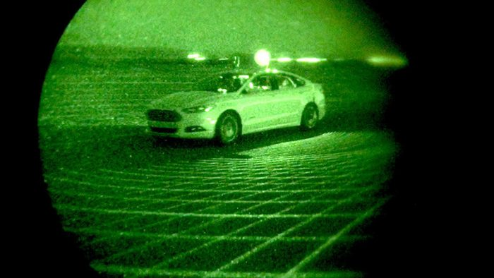 Ford tests Fusion Hybrid autonomous research vehicles at night, in complete darkness, as part of LiDAR sensor development – demonstrating the capability to perform beyond the limits of human drivers.
