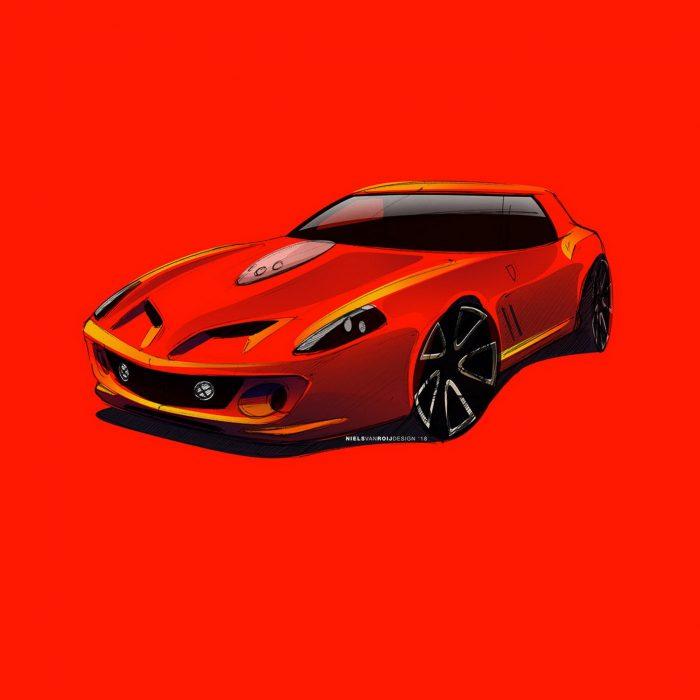 Ferrari Breadvan Hommage, los primeros bocetos