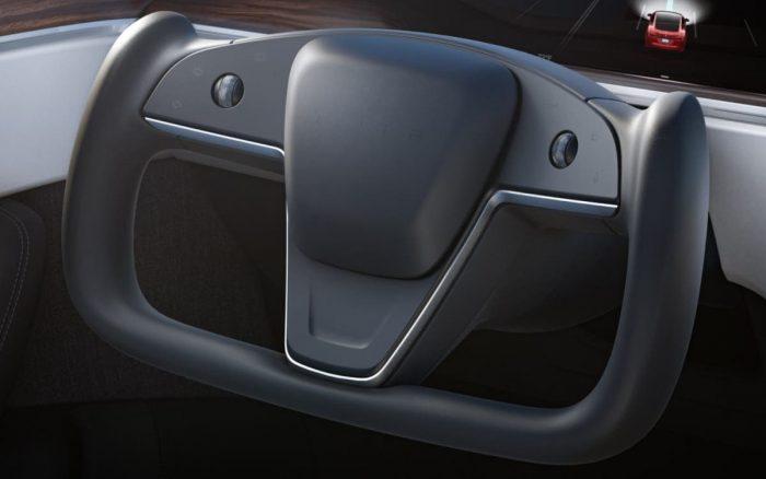 El nuevo volante sin aro exterior del Tesla S