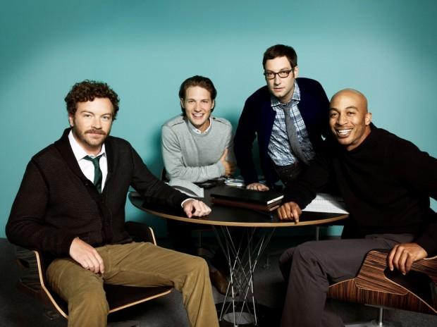 Danny-Masterson-Adam-Busch-James-Lesure-and-Michael-Cassidy-in-MEN-AT-WORK-Season-1-Promo-2-620x464
