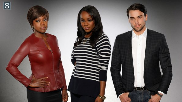 How to Get Away with Murder - Viola Davis as Professor Annalise Keating, Aja Naomi King as Michaela and Jack Falahee as Conner_595_slogo