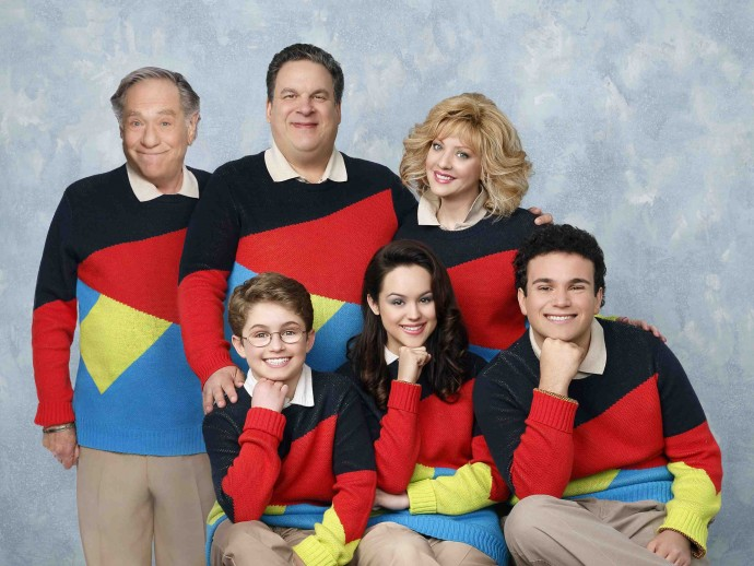 "THE GOLDBERGS - ""The Goldbergs"" stars Wendi McLendon-Covey (""Bridesmaids"") as Beverly, Jeff Garlin (""Curb Your Enthusiasm"") as Murray, George Segel (""Don't Shoot Me"") as Pops, Hayley Orrantia (""The X Factor"") as Erica, Sean Giambrone as Adam, and Troy Gentile (""Good Luck Chuck"") as Barry. ""The Goldbergs"" was written and executive produced by Adam F. Goldberg (""Breaking In,""""Fanboys"") and executive produced by Doug Robinson.  The pilot was directed by Seth Gordon (""Identity Thief,"" ""Horrible Bosses"").  ""The Goldbergs"" is from Adam Sandler's production company Happy Madison and is produced by Sony Pictures Television.  (ABC/Craig Sjodin) STANDING: GEORGE SEGAL, JEFF GARLIN, WENDI MCLENDON-COVEY;   SEATED: SEAN GIAMBRONE, HAYLEY ORRANTIA, TROY GENTILE"