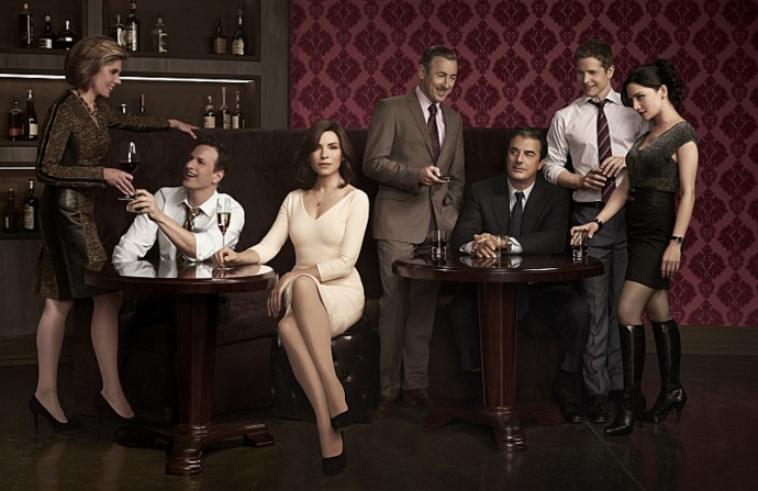 The cast of the CBS series THE GOOD WIFE airing Sundays (9:00-10:00 PM, ET/PT) on the CBS Television Network. L-R: Christine Baranski as Diane Lockhart, Josh Charles as Will Gardner, Julianna Margulies as Alicia Florrick, Alan Cumming as Eli Gold, Chris Noth as Peter Florrick, Matt Czuchry as Cary Agos, and Archie Panjabi as Kalinda Sharma Photo: Justin Stephens ©2012 CBS Broadcasting Inc. All Rights Reserved.