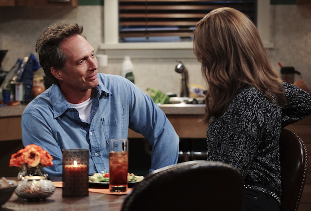 """Caperberries and a Glass Eye"" -- Adam (William Fichtner) enjoys a homemade dinner with Bonnie (Allison Janney), on MOM, Thursday, April 14 (9:01-9:30 PM, ET/PT) on the CBS Television Network.  Photo: Sonja Flemming/CBS ©2016 CBS Broadcasting, Inc. All Rights Reserved"