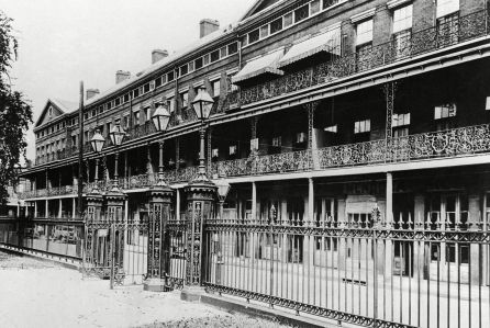 """Mandatory Credit: Photo by AP/REX/Shutterstock (6665944a) This is a view of the historic Pontalba apartments in New Orleans, La. where a fire caused an estimated $5,000 damage and threatened books and documents valued at $50,000. From one of the ironwork balconies Jenny Lind, the famed Swedish nightingale sang """"Home Sweet Home"""" to a group in the court below. The building was erected in 1850 in what is now the city's French Quarter by the Baroness Pontalba, daughter of a Spanish grandee. It is one of the first apartment building in the United States photographer here on March 14, 1931 NEW ORLEANS French Quarter, New Orleans, USA"""