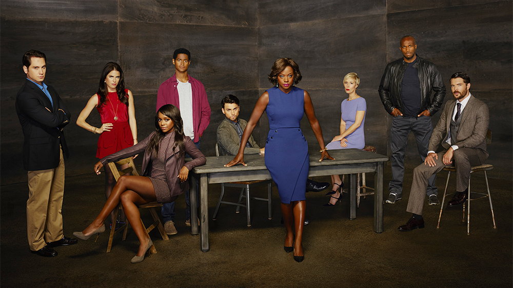 """HOW TO GET AWAY WITH MURDER - ABC's """"How to Get Away with Murder"""" stars Matt McGorry as Asher Millstone, Karla Souza as Laurel Castillo, Aja Naomi King as Michaela Pratt, Alfred Enoch as Wes Gibbins, Jack Falahee as Connor Walsh, Academy-Award Nominee Viola Davis as Professor Annalise Keating, Liza Weil as Bonnie Winterbottom, Billy Brown as Nate and Charlie Weber as Frank Delfino. (ABC/Bob D'Amico)"""