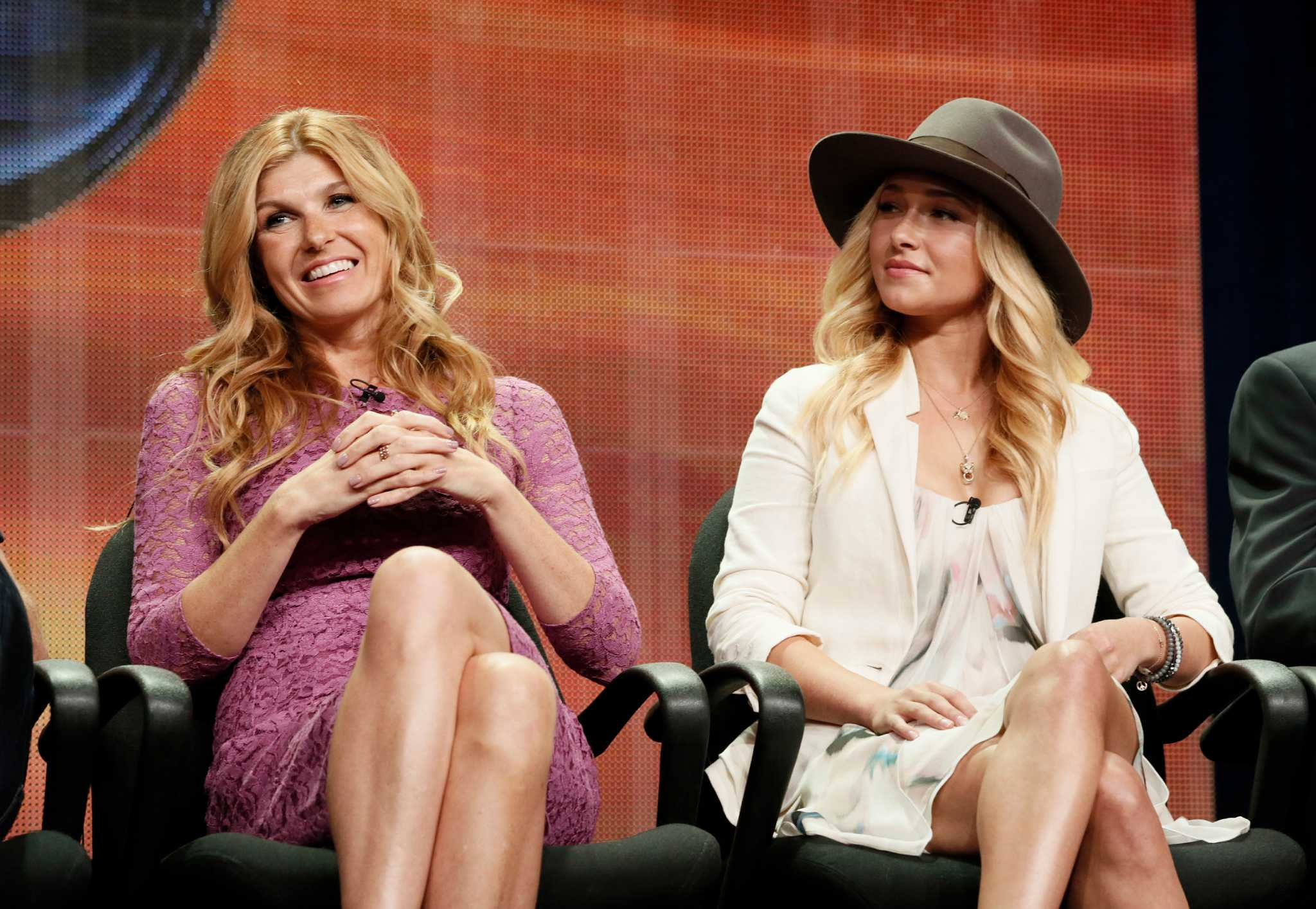 """FILE - In this July 27, 2012 file photo, cast members Connie Britton and Hayden Panettiere attend the """"Nashville"""" panel at the Disney ABC TCA Day 2 at the Beverly Hilton Hotel, in Beverly Hills, Calif. Cancelled by ABC after four seasons, the new season of """"Nashville"""" on CMT, which begins Jan. 5, 2017, aims to reflect more diversity in both the music and the cast.  (Photo by Todd Williamson/Invision/AP, File)"""