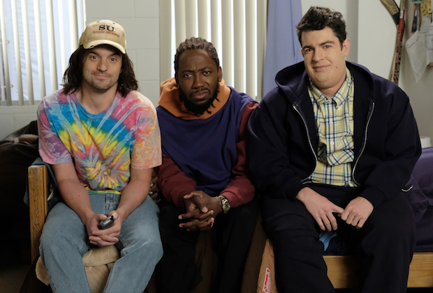 "NEW GIRL:  L-R:  Jake Johnson, Lamorne Morris and Max Greenfield in the ""San Diego"" season finale episode of NEW GIRL airing Tuesday, March 28 (8:00-8:31 PM ET/PT) on FOX.  ©2017 Fox Broadcasting Company.  Cr:  Ray Mickshaw/FOX"