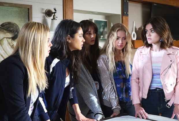 "PRETTY LITTLE LIARS - ""PlAytime"" - After Noel Kahn's abrupt death, the Liars try putting their lives back together again in ""Playtime,"" the first of the final ten episodes of Freeform's hit original series ""Pretty Little Liars,"" airing TUESDAY, APRIL 18 (8:00 - 9:02 p.m. EDT). Fans can catch up on where the Liars left off with an all-day marathon of season seven starting at 11:00 a.m. EDT and running up to the one-hour spring premiere at 8:00 p.m. EDT. (Freeform/Eric McCandless) SASHA PIETERSE, SHAY MITCHELL, TROIAN BELLISARIO, ASHLEY BENSON, LUCY HALE"