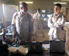 Michael Kelly(L) portrays Lt. Col. Gary Volesky and Jason Ritter(R), Capt. Troy Demony on set of The Long Road Home at U.S. Military post, Fort Hood, Killeen, Texas. (Photo: National Geographic/Van Redin) Ep1