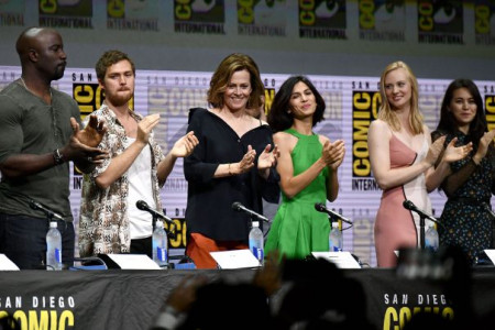 Mandatory Credit: Photo by Rob Latour/REX/Shutterstock (8970367q) Mike Colter, Finn Jones, Sigourney Weaver, Elodie Yung, Deborah Ann Woll and Jessica Henwick 'The Defenders' TV show panel, Comic-Con International, San Diego, USA - 21 Jul 2017